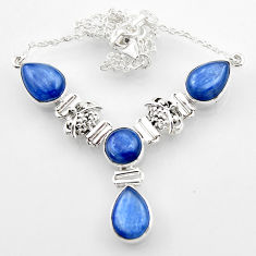 925 sterling silver 27.23cts natural blue kyanite pear necklace jewelry r52320