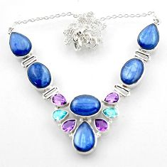 925 sterling silver 51.66cts natural blue kyanite topaz necklace jewelry r52250
