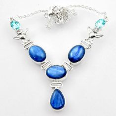 925 sterling silver 31.17cts natural blue kyanite topaz necklace jewelry r52300
