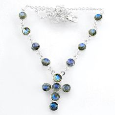 925 sterling silver 19.39cts natural blue labradorite cross necklace r71997