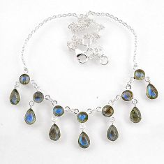 925 sterling silver 23.89cts natural blue labradorite necklace jewelry r60777