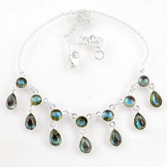 925 sterling silver 21.19cts natural blue labradorite necklace jewelry r60780