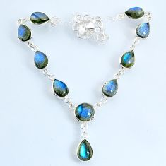 925 sterling silver 24.45cts natural blue labradorite necklace jewelry r69387