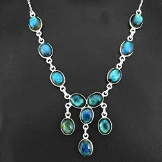925 sterling silver 32.73cts natural blue labradorite necklace jewelry r94118