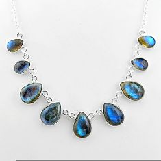 925 sterling silver 32.23cts natural blue labradorite necklace jewelry t16107