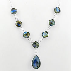 925 sterling silver 25.20cts natural blue labradorite necklace jewelry t16112