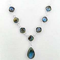 925 sterling silver 24.57cts natural blue labradorite necklace jewelry t16119