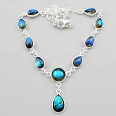 925 sterling silver 25.65cts natural blue labradorite necklace jewelry t26348