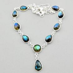 925 sterling silver 31.00cts natural blue labradorite necklace jewelry t26359