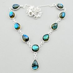925 sterling silver 33.72cts natural blue labradorite necklace jewelry t26370