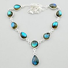 925 sterling silver 33.70cts natural blue labradorite necklace jewelry t26375