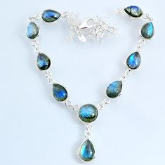 925 sterling silver 24.59cts natural blue labradorite pear necklace r69383