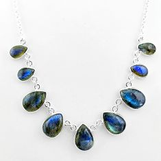 925 sterling silver 32.55cts natural blue labradorite pear necklace t16104