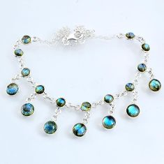 925 sterling silver 25.26cts natural blue labradorite round necklace r69362