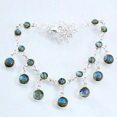 925 sterling silver 25.59cts natural blue labradorite round necklace r69368