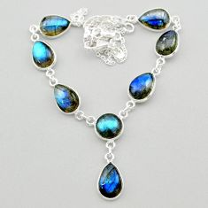 925 sterling silver 31.53cts natural blue labradorite round necklace t26343