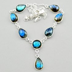 925 sterling silver 32.14cts natural blue labradorite round necklace t26350