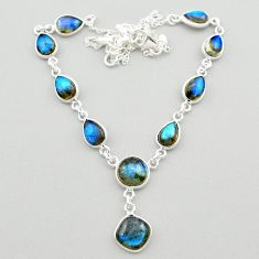 925 sterling silver 26.20cts natural blue labradorite round necklace t26364