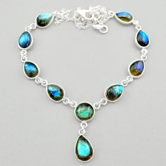 925 sterling silver 28.55cts natural blue labradorite round necklace t26378
