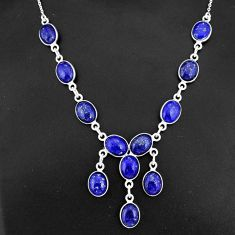 925 sterling silver 30.94cts natural blue lapis lazuli oval necklace r94110