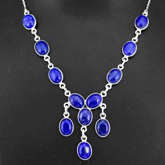 925 sterling silver 30.88cts natural blue lapis lazuli oval necklace r94114