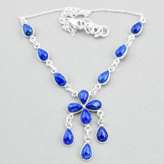 925 silver 21.48cts natural blue lapis lazuli pear necklace t34123