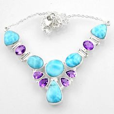 925 sterling silver 45.96cts natural blue larimar amethyst necklace r52245