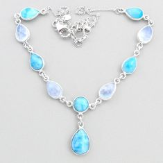 925 sterling silver 29.85cts natural blue larimar moonstone necklace t48690