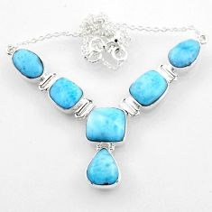 925 sterling silver 38.79cts natural blue larimar necklace jewelry r52273