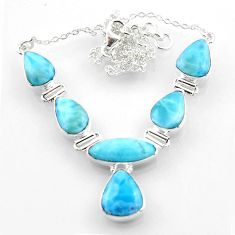 925 sterling silver 29.72cts natural blue larimar necklace jewelry r52284
