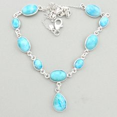 925 sterling silver 30.78cts natural blue larimar necklace jewelry t19483