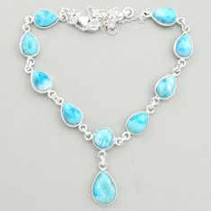 925 sterling silver 30.86cts natural blue larimar necklace jewelry t19488