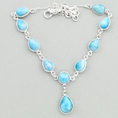 925 sterling silver 30.21cts natural blue larimar necklace jewelry t19494