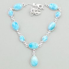 925 sterling silver 32.02cts natural blue larimar necklace jewelry t19497
