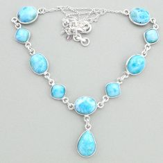 925 sterling silver 34.64cts natural blue larimar necklace jewelry t19500