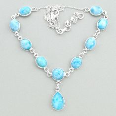 925 sterling silver 32.05cts natural blue larimar necklace jewelry t19824