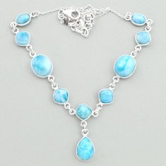 925 sterling silver 30.37cts natural blue larimar necklace jewelry t19826
