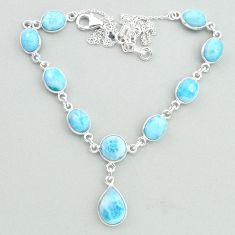 925 sterling silver 28.39cts natural blue larimar necklace jewelry t19831