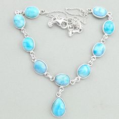 925 sterling silver 35.15cts natural blue larimar necklace jewelry t19839