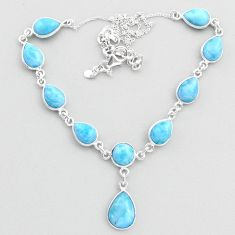 925 sterling silver 32.48cts natural blue larimar necklace jewelry t48695