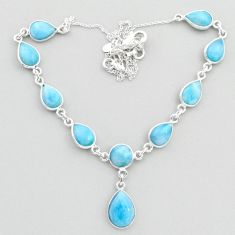 925 sterling silver 30.40cts natural blue larimar necklace jewelry t48698