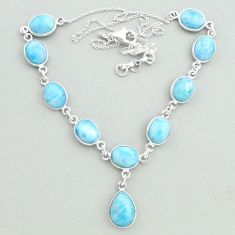925 sterling silver 33.10cts natural blue larimar oval necklace jewelry t19834
