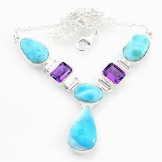 925 sterling silver 33.50cts natural blue larimar pear amethyst necklace r72995