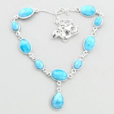 925 sterling silver 32.45cts natural blue larimar pear necklace jewelry t48692