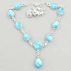 925 sterling silver 31.00cts natural blue larimar round necklace jewelry t19486