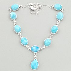925 sterling silver 36.40cts natural blue larimar round necklace jewelry t19491