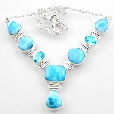 925 sterling silver 51.91cts natural blue larimar topaz necklace jewelry r52244