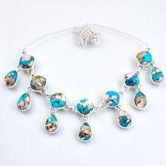 925 sterling silver 61.73cts natural blue opal in turquoise necklace r56080