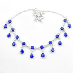 925 sterling silver 23.36cts natural blue sapphire pear necklace jewelry t40597