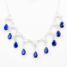 925 sterling silver 24.60cts natural blue sapphire pearl necklace jewelry r77391